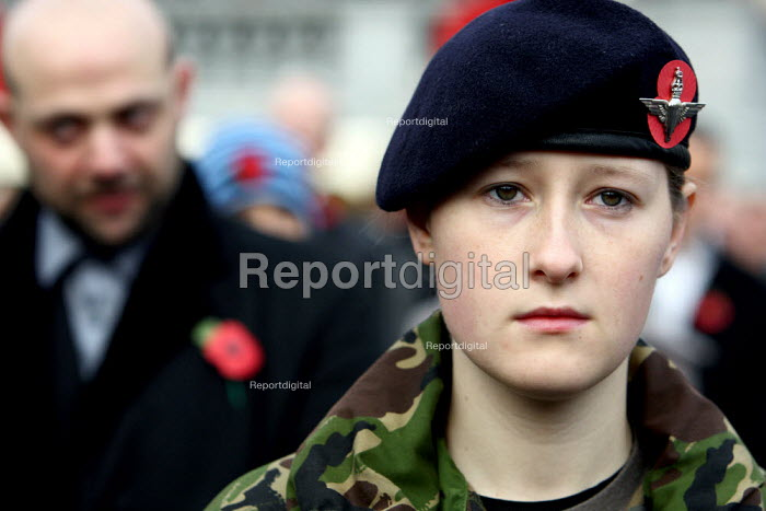 Young woman from Army Cadet Force of Buckinghamshire stands for a two minute silence at Armistice Day in Trafalgar Square. London. - Justin Tallis - 2009-11-11