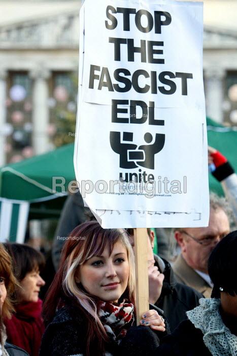 Unite Against Fascism counter demonstration against the English Defence League. Nottingham. - Justin Tallis - 2009-12-05