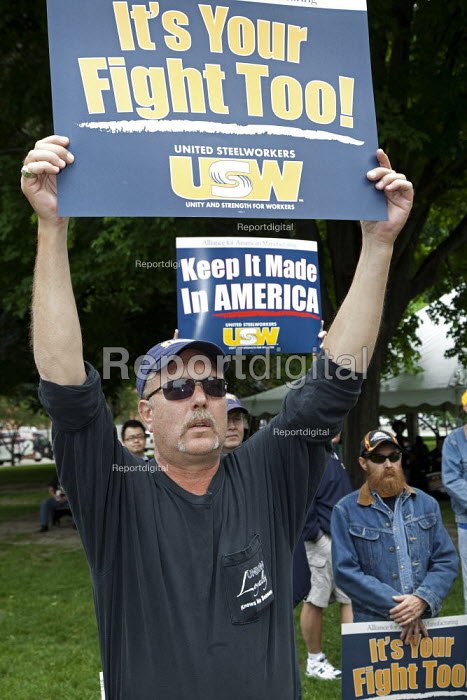 Lansing, Michigan - USW Union members march and rally for jobs. It's your fight too! Keep it made in America - Jim West - 2009-06-01
