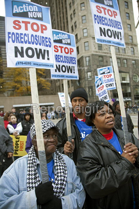 Chicago, Illinois - Trades union members and community organizations rally outside the conference of the American Bankers Association, demanding that the big banks and Wall Street firms stop lobbying against financial reform. - Jim West - 2009-10-27