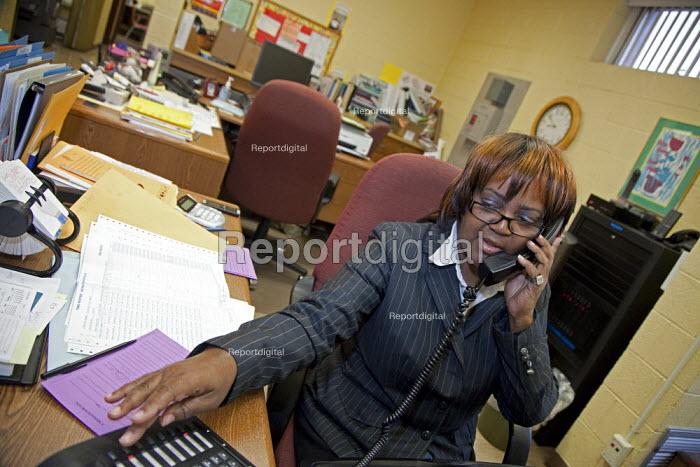 A Detroit Public Schools secretary working at the Detroit School for the Deaf. - Jim West - 2009-11-19