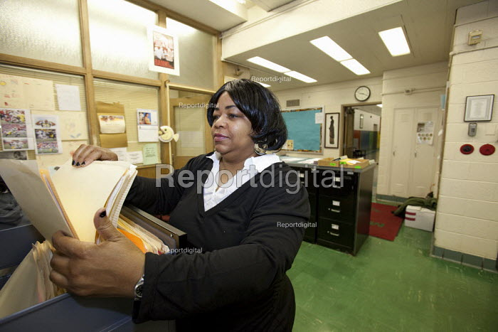 A Detroit Public Schools secretary at work. - Jim West - 2009-11-19