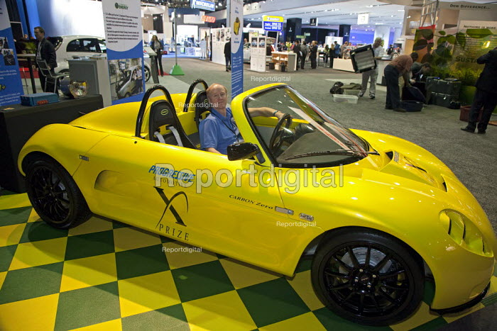 Detroit, Michigan - Chris Arcus in the Saba Motors Carbon Zero Roadster at the 2010 North American International Auto Show. The plug in electric sports car is competing for the Automotive X Prize, which will award 10 million in prizes for cars that have a fuel efficiency equivalent of more than 100 miles per gallon. - Jim West - 2010-01-12