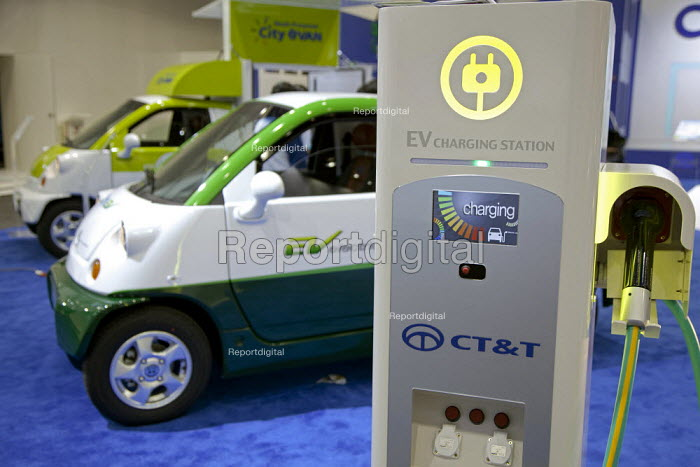 Detroit, Michigan - A battery charging station for the Korean-made CT&T plug-in electric car at the 2010 North American International Auto Show. - Jim West - 2010-01-12