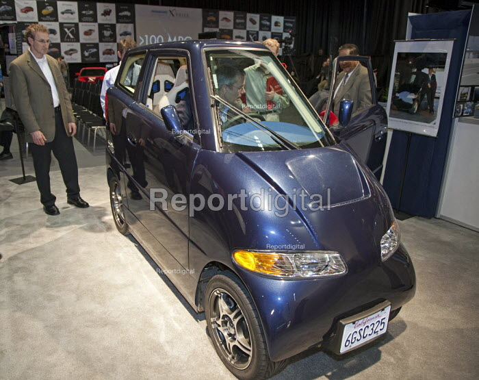 Detroit, Michigan - The Tango, an electric car manufactured by Commuter Cars, on display at the 2010 North American International Auto Show. The car is 39 inches wide. It seats two (one behind the other). It has a top speed of 135 miles per hour. - Jim West - 2010-01-14