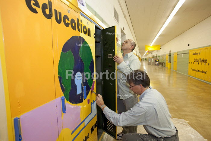 Detroit, Michigan - Volunteers paint murals at Cody High School. They were working as part of a Martin Luther King Day of Service project organized by City Year. - Jim West - 2010-01-18