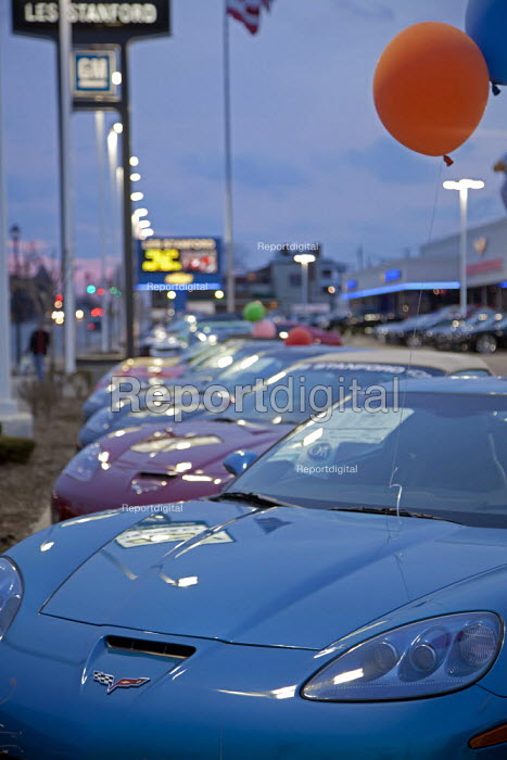 Michigan - New cars on display for sale at a Chevrolet dealer. Detroit USA - Jim West - 2010-03-19