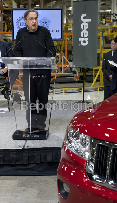 Chrysler CEO Sergio Marchionne speaks at the introduction of new Jeep Grand Cherokee, at the Jefferson North Assembly Plant. - Jim West - 2010-05-21
