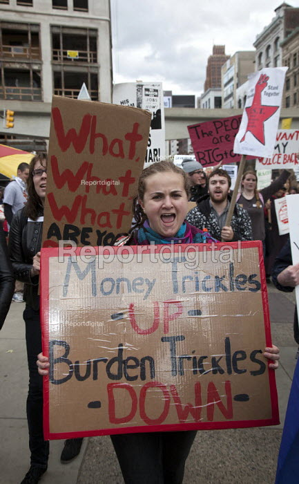 Money trickles Up, burden trickles Down. Occupy Detroit protest against economic inequality. They are part of the Occupy Wall Street movement.. - Jim West - 2011-10-14