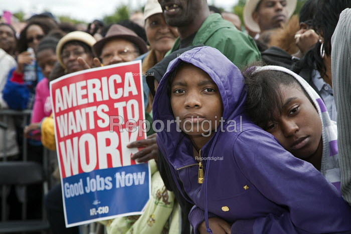 President Obama supporters at Labor Day Rally in Detroit. - Jim West - 2011-10-27