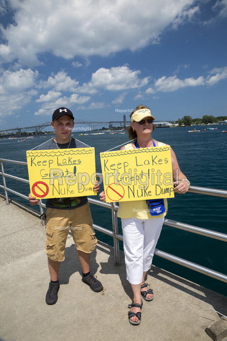 Michigan Residents Oppose Nuclear Waste Dump Near Great Lakes. Protest to oppose a plan to store radioactive nuclear waste underground near Lake Huron. Ontario Power Generation plans to build a deep geological repository a half mile from the lake near its Kincardine, Ontario nuclear power plant. Activists say a leak would endanger the drinking water supply for millions. - Jim West - 2015-08-16