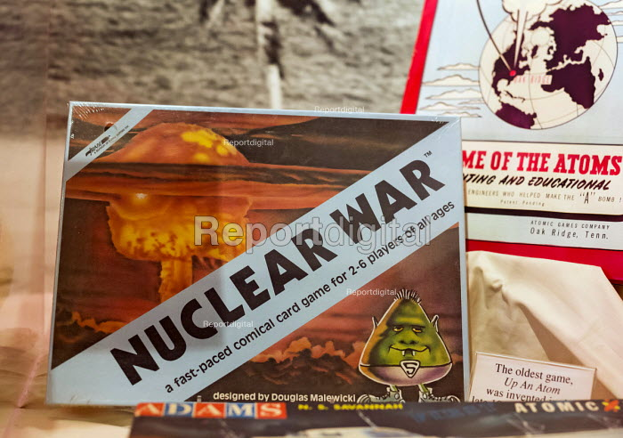 Los Alamos, New Mexico - A display at the Los Alamos Historical Museum. The museum contains artifacts and information about the Manhattan Project, which produced the world's first atomic bomb. Nuclear War game on display, invented by Doug Malewicki in 1965 - Jim West - 2015-10-12