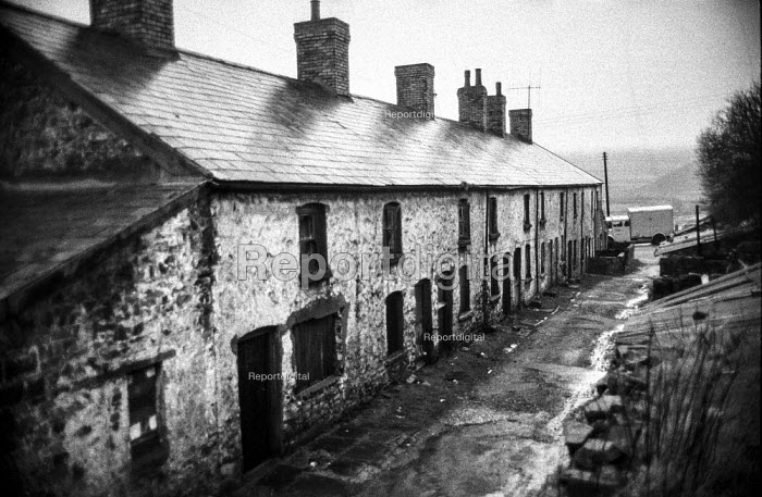 Old National Coal Board miners cottages in Blackwood, South Wales, now mostly empty and due for demolition - Martin Mayer - 1972-01-21