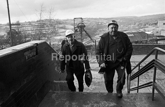 Miners from Oakdale pit, South Wales, just before 1974 strike - Martin Mayer - 1974-01-25