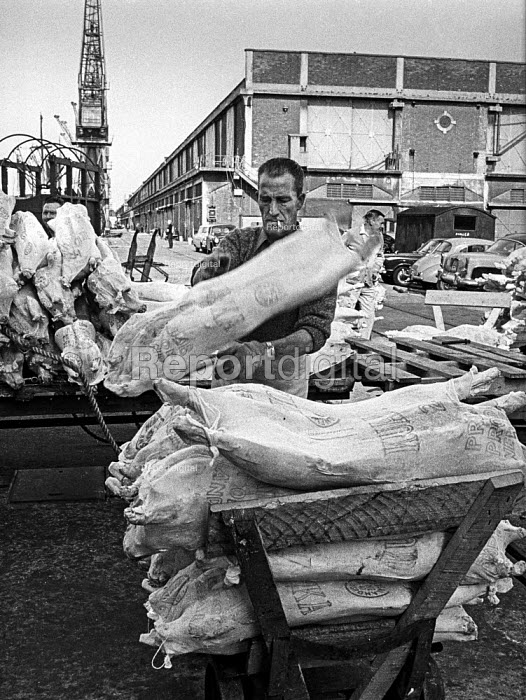 Traditional dock work, East India dock, London - manhandling frozen meat piecemeal - just before containerisation changed dock work for ever. - Martin Mayer - 1970-07-06
