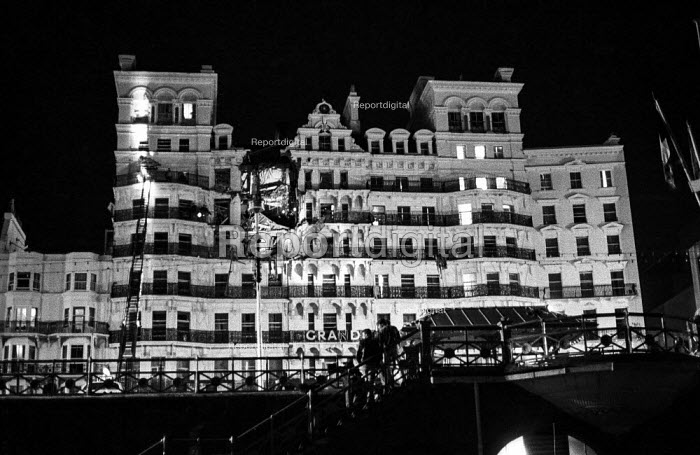 Serious structural damage visible on the Grand Hotel, Brighton, just after the IRA exploded a bomb in an attempt to assassinate Margaret Thatcher. - Martin Mayer - 1984-10-12