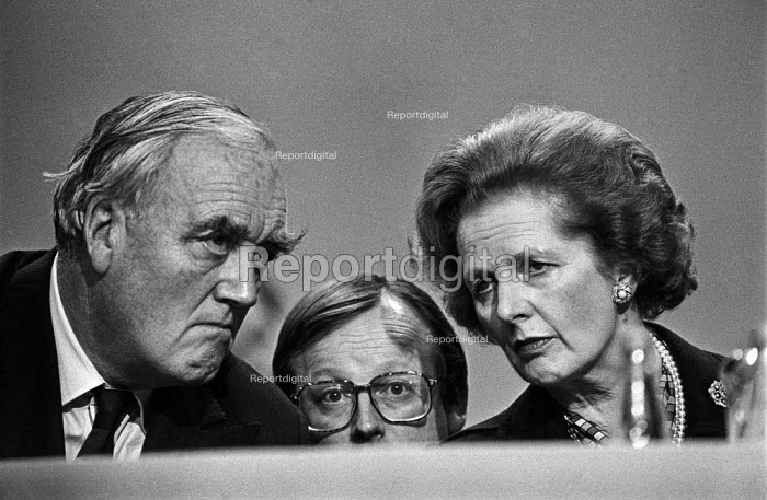 Grim faced Margaret Thatcher (R), William Whitelaw (L) and Selwyn Gummer at 1984 Conservative Party Conference on the day after the IRA bomb attack on Thatcher, Brighton - Martin Mayer - 1984-10-12