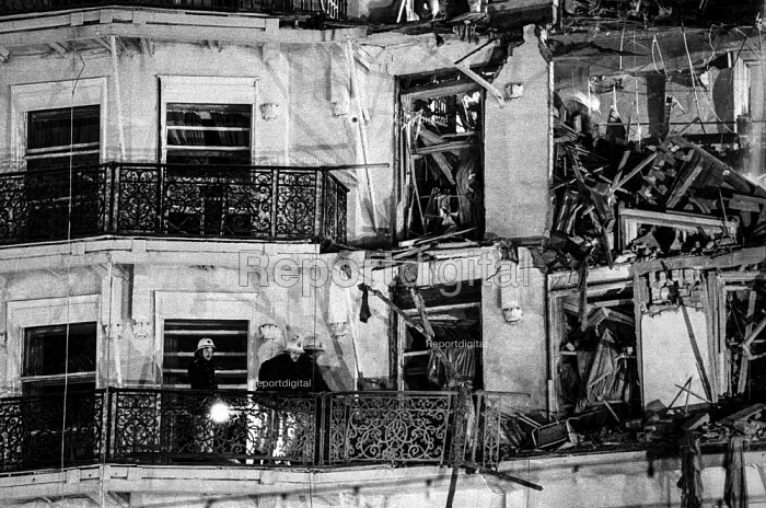 Firemen check for injured guests at the heavily damaged Grand Hotel, Brighton, in the aftermath of the bomb attack in which the IRA attempted to assassinate Prime Minister Margaret Thatcher - Martin Mayer - 1984-10-12