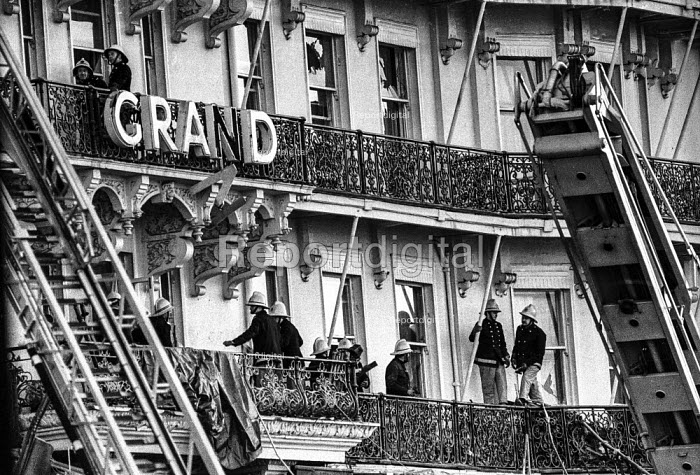 Firemen still checking for damage at the Grand Hotel, Brighton, in the aftermath of the bomb attack in which the IRA attempted to assassinate Prime Minister Margaret Thatcher - Martin Mayer - 1984-10-12