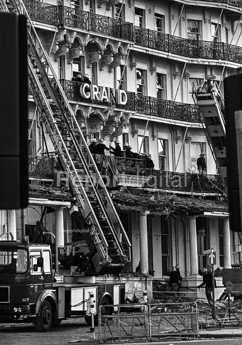 Firemen still checking for damage at the Grand Hotel, Brighton, the morning after the bomb attack in which the IRA attempted to assassinate Prime Minister Margaret Thatcher - Martin Mayer - 1984-10-12