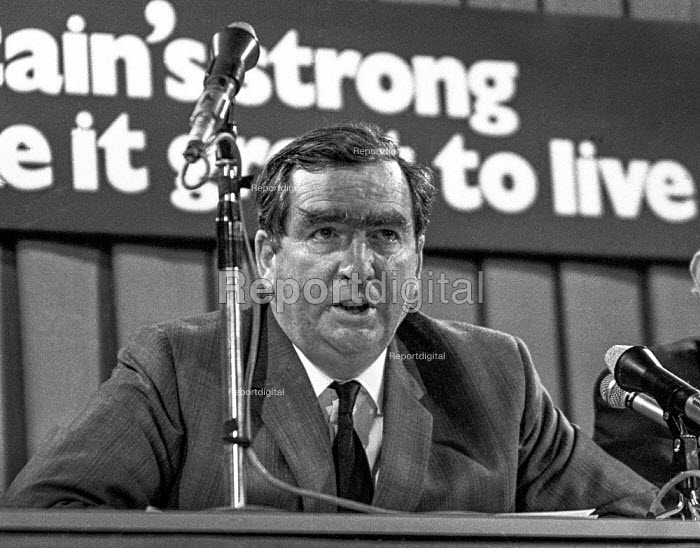 Dennis Healey MP speaking at a press conference during the 1970 general election - Martin Mayer - 1970-06-09