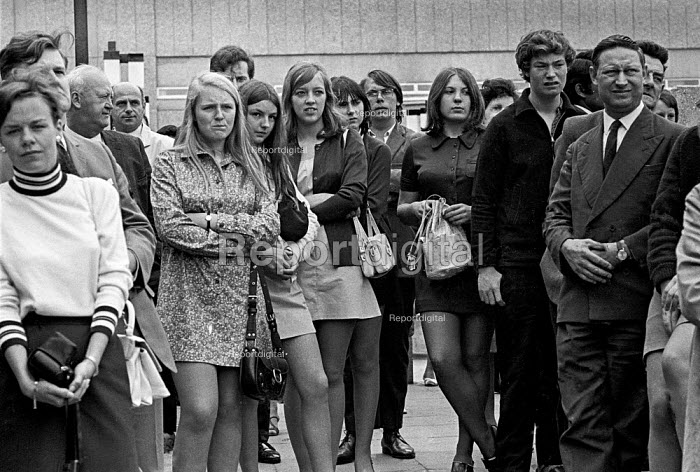 Young women in mini dresses - some first time voters - among listeners to speeches at a Labour Party election rally in a shopping centre addressed by deputy leader George Brown - Martin Mayer - 1970-06-01