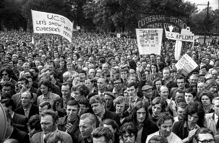 Upper Clyde Shipbuilders workers, Glasgow A march and rally of 80,000 trades union members opposing the threatened closure of the yards. They later occupied the yards in a 'work-in', which saved some of the yards for a while. - Martin Mayer - 1970-06-23