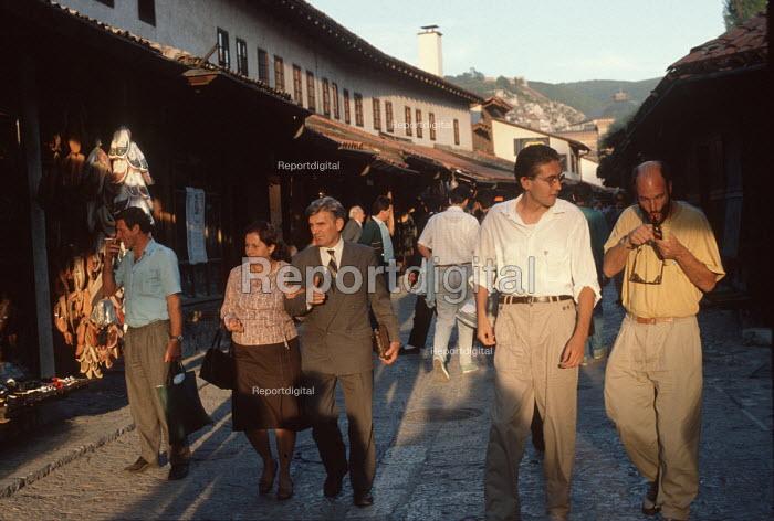 Local people an evening stroll through Sarajevo old town, Bosnia - Martin Mayer - 1990-09-07