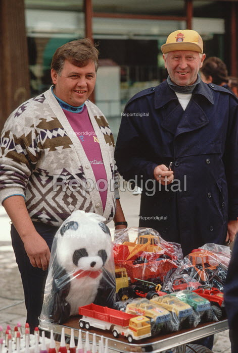 Street traders selling cheap plastic toys and make up in the centre of Sarajevo, Bosnia 1990 - Martin Mayer - 1990-09-10