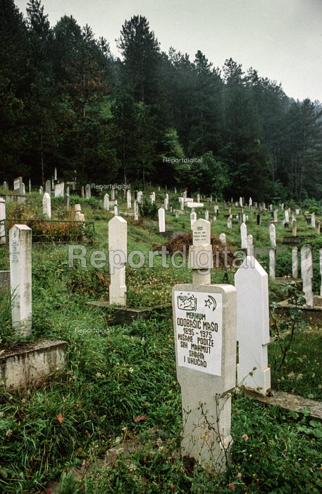 Muslim cemetery in Foca, Eastern Bosnia. It was desecrated Serbian nationalists during the civil war - Martin Mayer - 1990-09-10