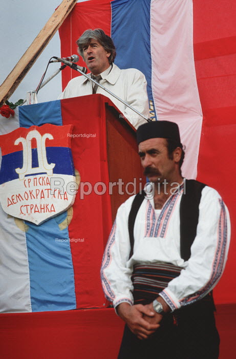 Radovan Karadzic, leader of the Bosnian Serb nationalist party Serbian Democratic Party addressing a rally of the party in the Muslim majority town of Gorazde in eastern Bosnia - Martin Mayer - 1990-09-12