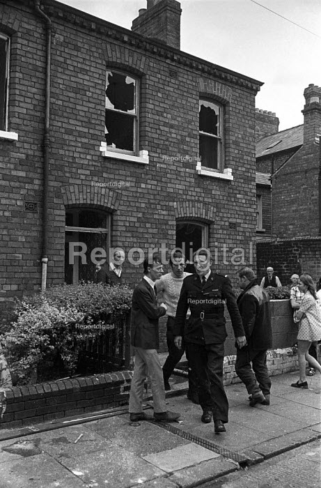 House vacated by a Protestant family in the aftermath of trouble with the predominantly Catholic community in the Short Strand area, East Belfast 1971 after the imposition of internment without trial, is wrecked to prevent Catholics moving in. - Martin Mayer - 1971-08-10