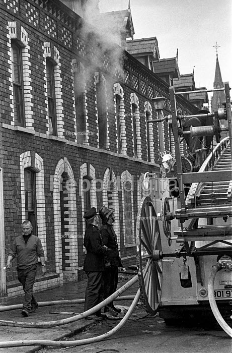 House vacated by a Protestant family in the aftermath of trouble with the predominantly Catholic community in the Short Strand district, East Belfast 1971 after the imposition of internment without trial, burnt out by UVF (Ulster Volunteer Force) members to prevent Catholics moving in - Martin Mayer - 1971-08-10