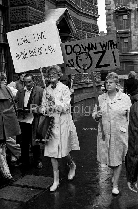 Mary Whitehouse (L) leader of the National Viewers and Listeners Association protests outside the Old Bailey against the defendants in the Oz Trial being tried for obscenity, London - Martin Mayer - 1971-08-05