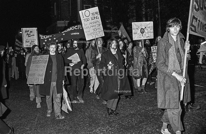 Protest march against the imprisonment of 4 members of the 'Stoke Newington Eight' otherwise known as the Angry Brigade for planting bombs. - Martin Mayer - 1972-12-07