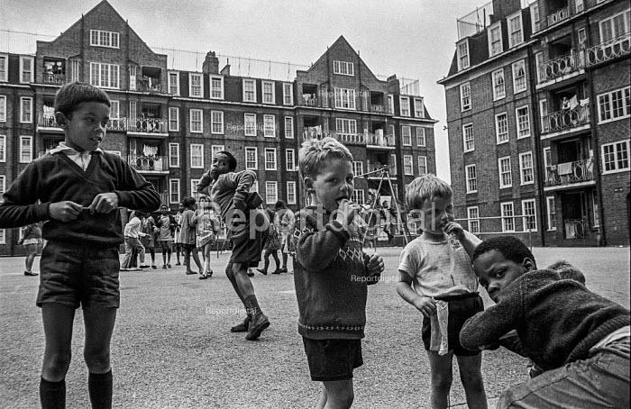 Children playing on a Brixton council estate, summer 1970 Ferndale Court, blocks of flats, 1970 - Martin Mayer - 1970-07-06