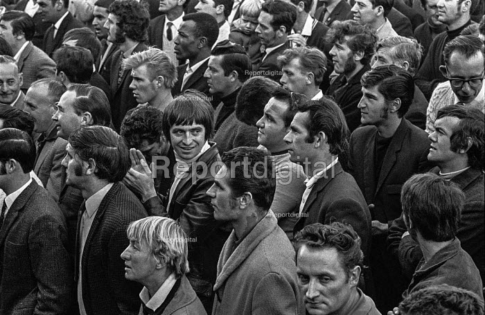 Faces in the crowd of workers from the GKN Sankey automotive components factory in Telford, Shropshire, at mass meeting where they voted to strike for higher pay. The strike led to the closure of several Triumph and Austin- Morris car factories because of a shortage of parts. - Martin Mayer - 1970-08-01