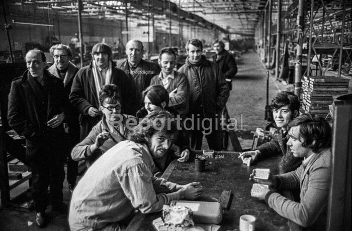Workers at H.O. Serck and Co, Longsight, Manchester occupying their factory in support of a district wide claim for 6 pay increase, a 35 hour week, equal pay and longer holidays - Martin Mayer - 1972-03-30
