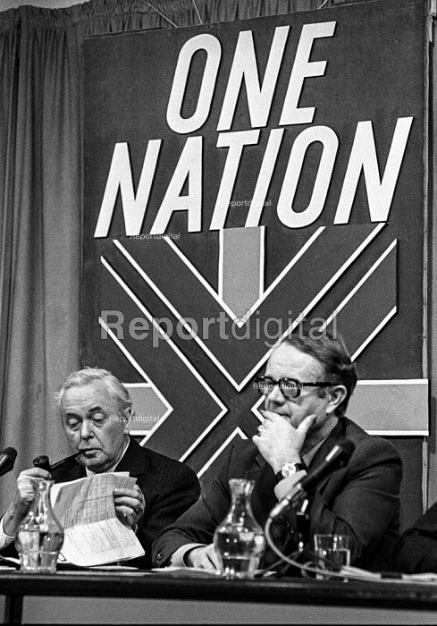 Harold Wilson and Labour Party Gen Sec Ron Hayward at an election press conference - NLA - 1974-02-12