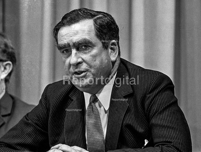 Labour Chancellor Dennis Healey speaking at a Labour Party election press conference - NLA - 1974-02-12