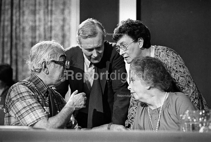 (L-R) Ian Mikardo, Tony Benn, Joan Maynard and Judith Hart at Labour Party conference 1978 - Peter Arkell - 1978-10-07