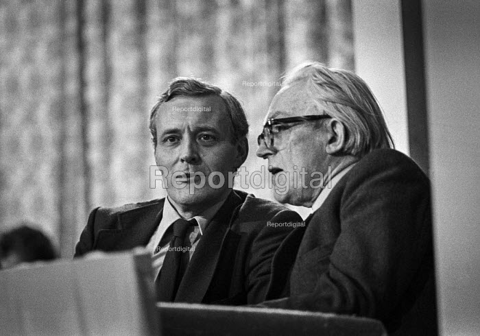 Michael Foot (R) and Tony Benn, Labour Party conference 1976 - Martin Mayer - 1976-09-27