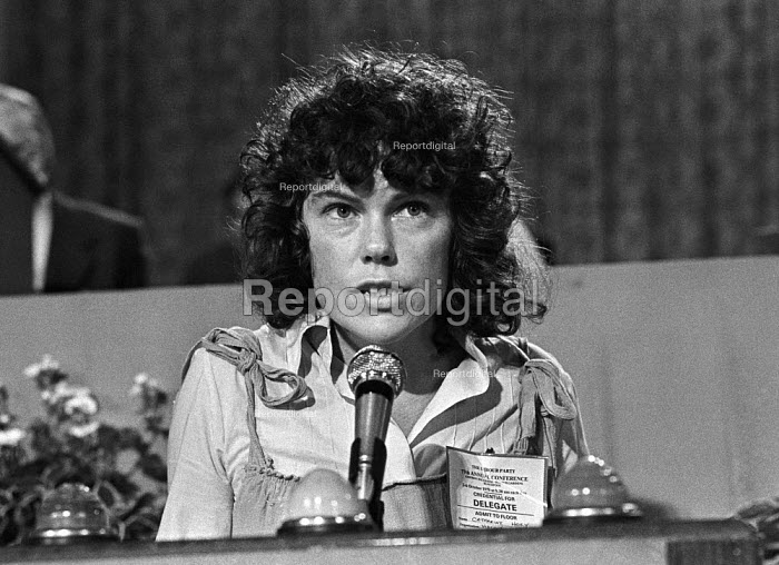 Kate Hoey, formerly of the IMG (International Marxist Group), later to become Labour MP for Vauxhall speaking at the Labour Party conference. Blackpool, 1978 - Martin Mayer - 1978-10-02