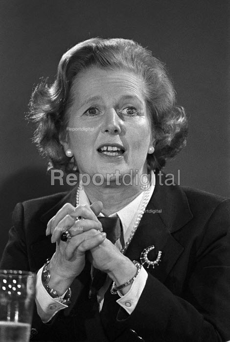 Margaret Thatcher shortly after coming to power in 1979, speaking at a European election press conference - Martin Mayer - 1979-05-18
