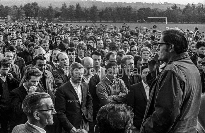 Shop steward speaking, mass meeting of Morris car workers 1970 against Measured Day Work, Cowley, Oxford - Martin Mayer - 1970-06-16