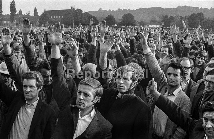 A meeting of Morris car workers voting for a strike, Cowley, Oxford against Measured Day Work. At this time there was on average one industrial dispute a day in the British Leyland Cowley car factory. - Martin Mayer - 1970-06-16