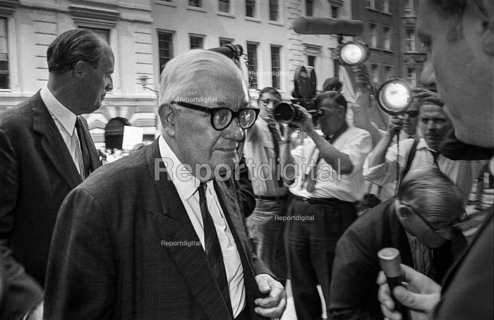 Lord Thomson, owner of the Sunday Times and the Times arrives for pay talks during print workers strike who are demanding a 25 pay rise, Fleet Street, London - Martin Mayer - 1970-08-10