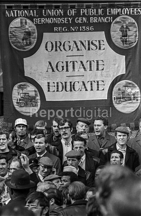 NUPE banner, Council Workers march and lobby to County Hall, London - Peter Arkell - 1970-10-06