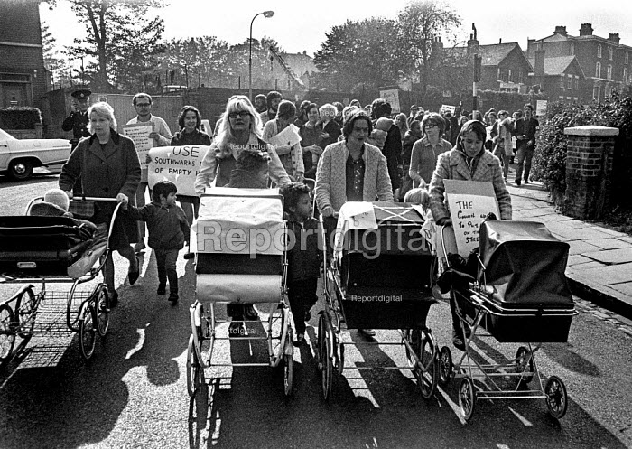 Homeless mothers and children join other squatters in a march to Southwark Town Hall, London in a protest at shortage of housing, London - Martin Mayer - 1970-10-09