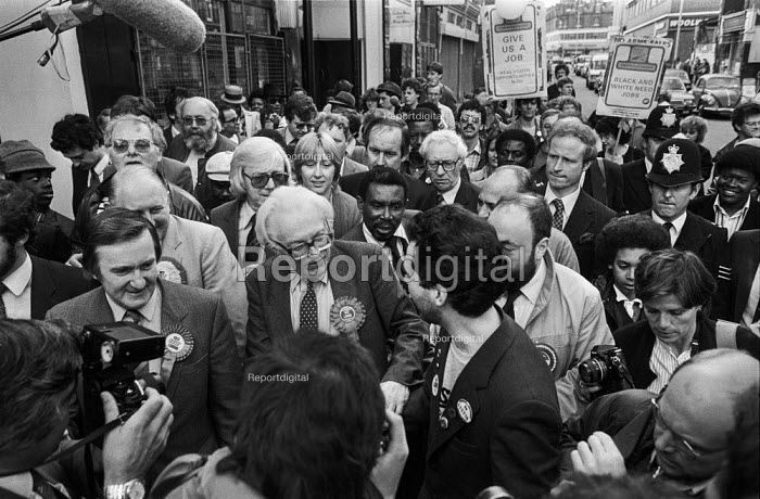 Michael Foot on an election walkabout in Brixton, South London, accompanied by Lambeth council leader Ted Knight - Peter Arkell - 1983-05-30